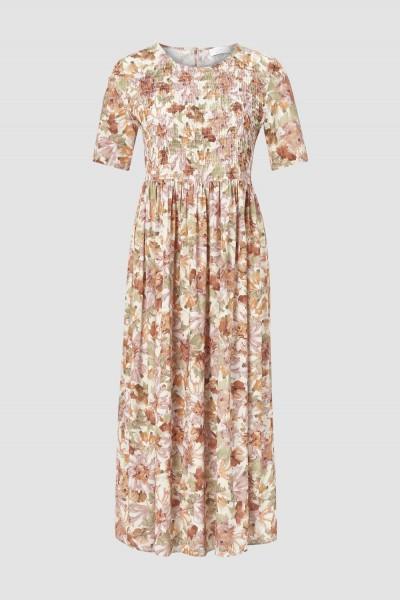 Rich and Royal Kleid mit gesmoktem Vorderteil stone white
